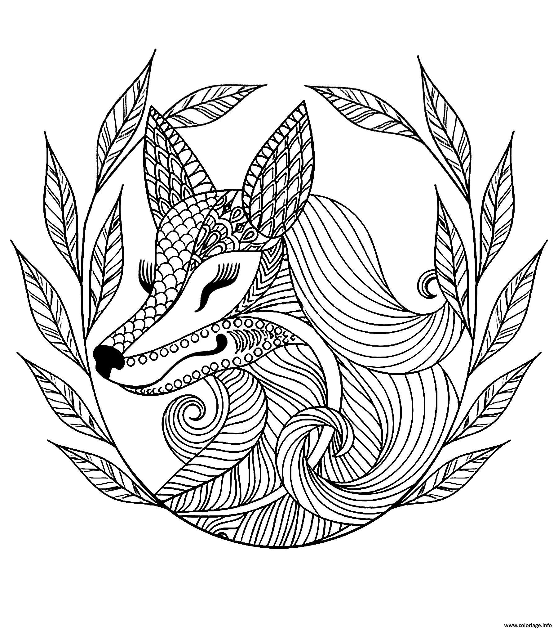 Dessin adulte difficile renard et feuilles Coloriage Gratuit à Imprimer