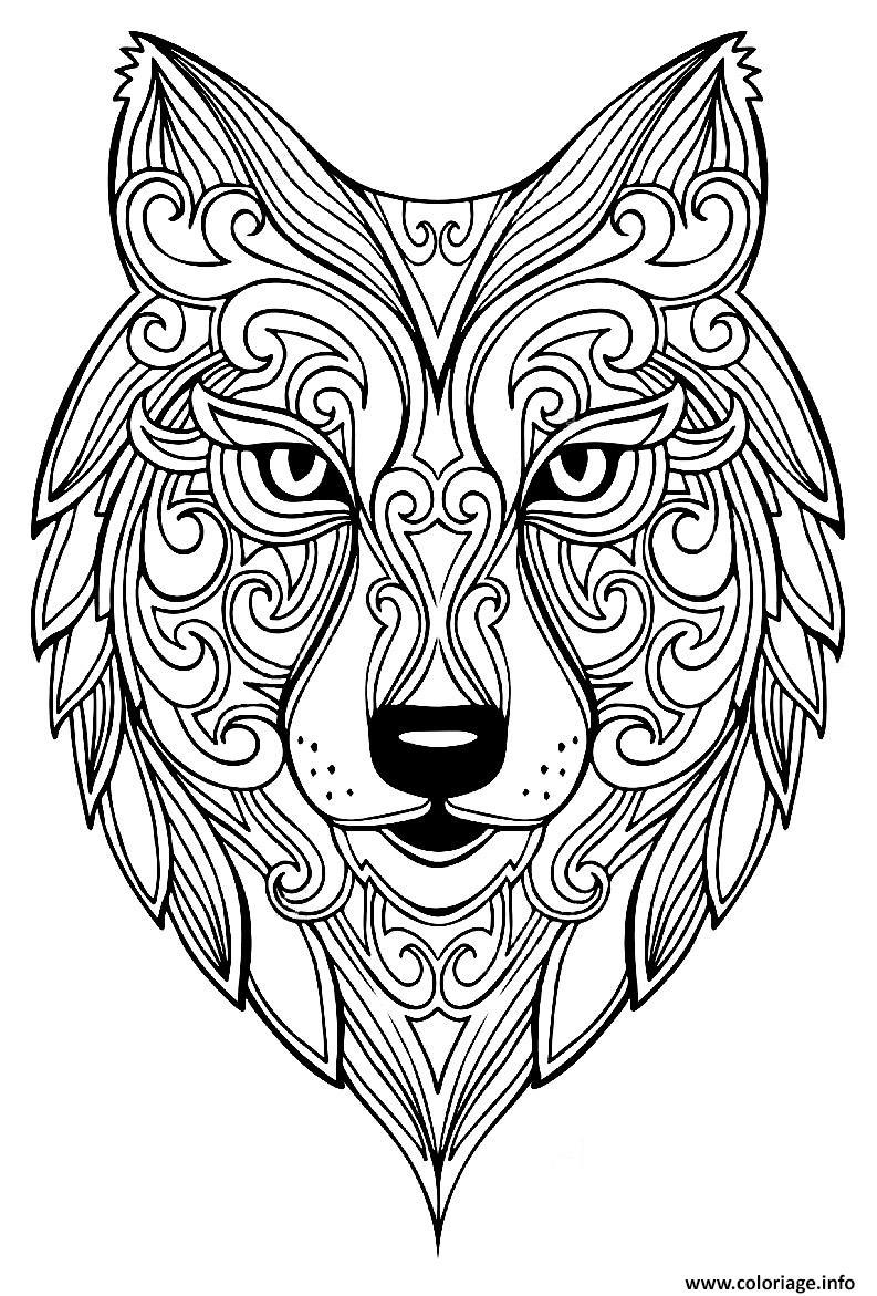 Coloriage Adulte Renard Mandala Dessin