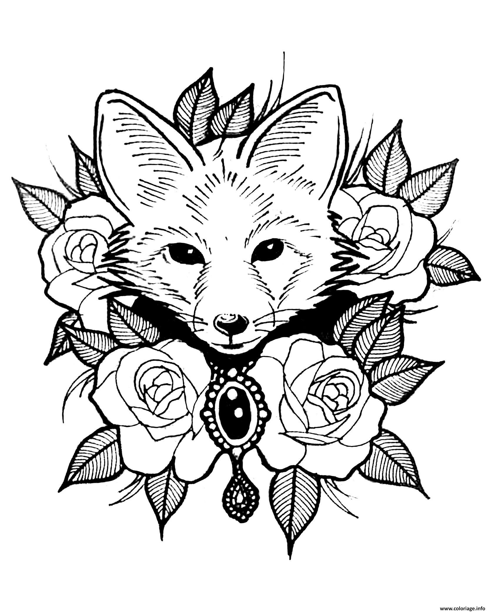 Dessin renard et roses style tatouage Coloriage Gratuit à Imprimer