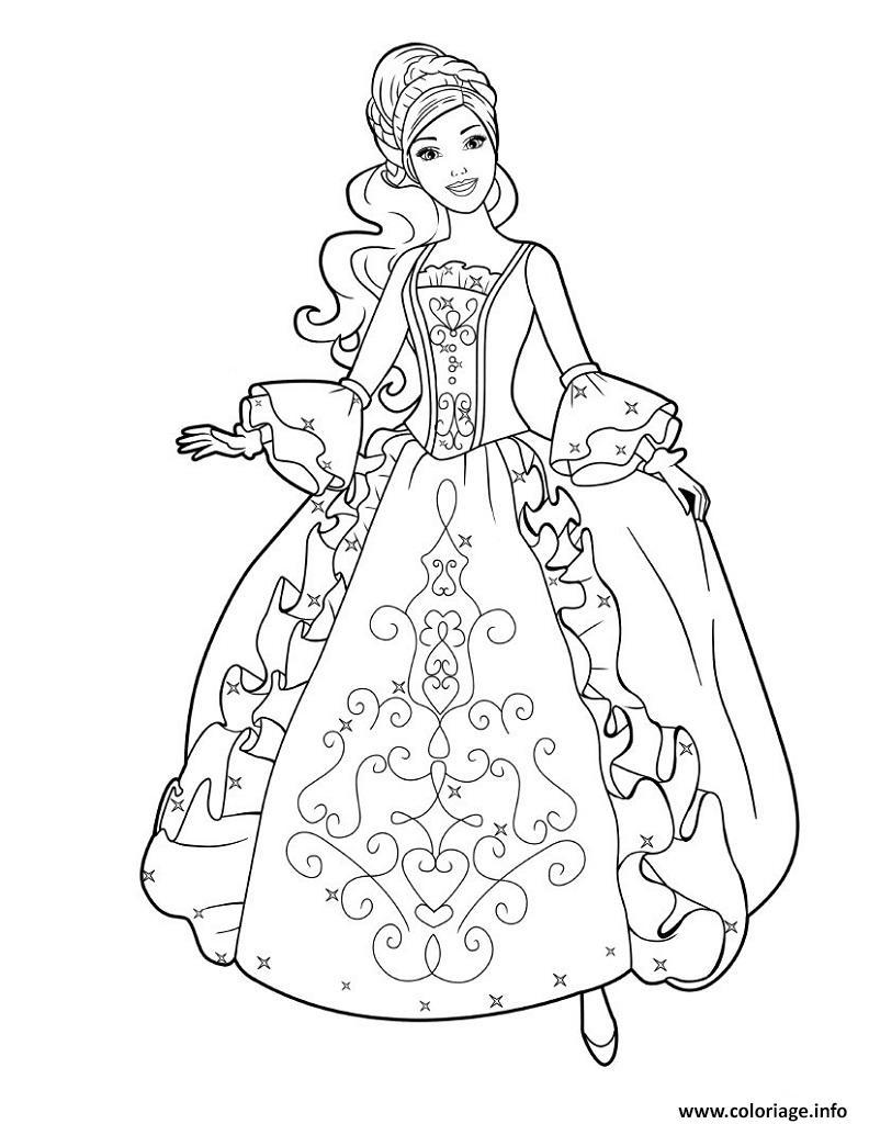 Coloriage Princesse Barbie Avec Une Jolie Robe Jecolorie Com