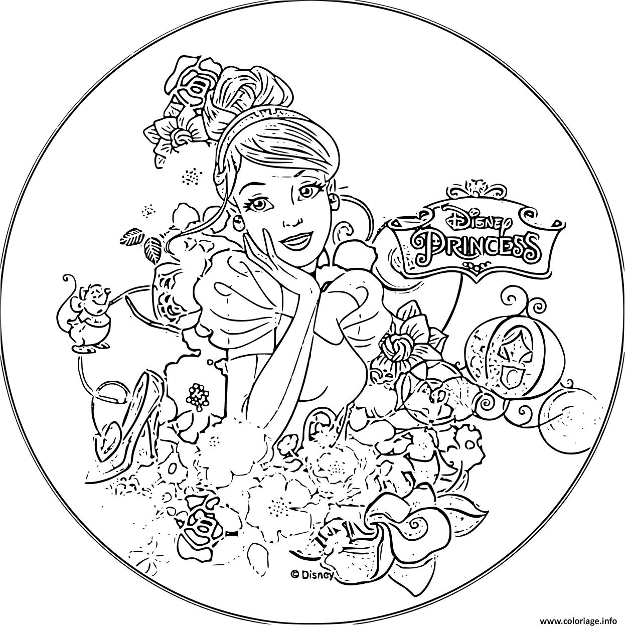 Coloriage Disney Princesse Cendrillon 1950 Jecolorie Com