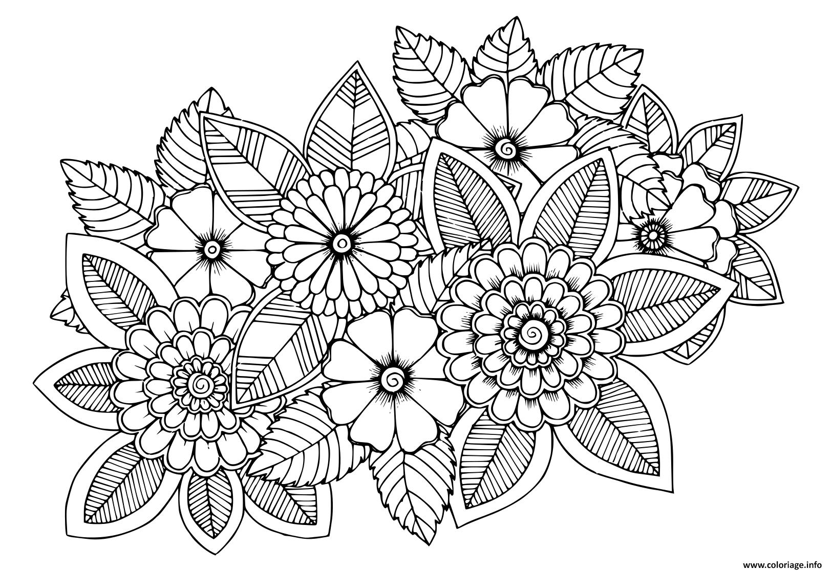 Dessin fleur vegetation fleural adulte Coloriage Gratuit à Imprimer