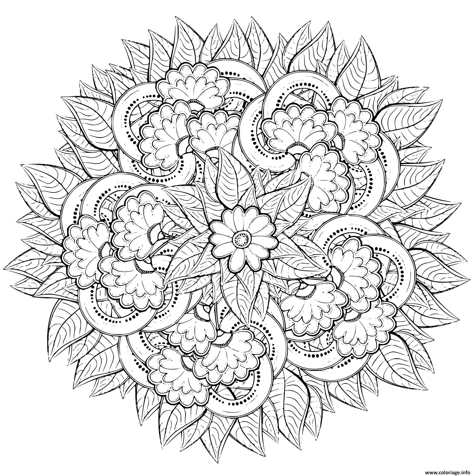 Coloriage Mandala Fleurs Pour Adulte Nature Dessin Fleurs A Imprimer