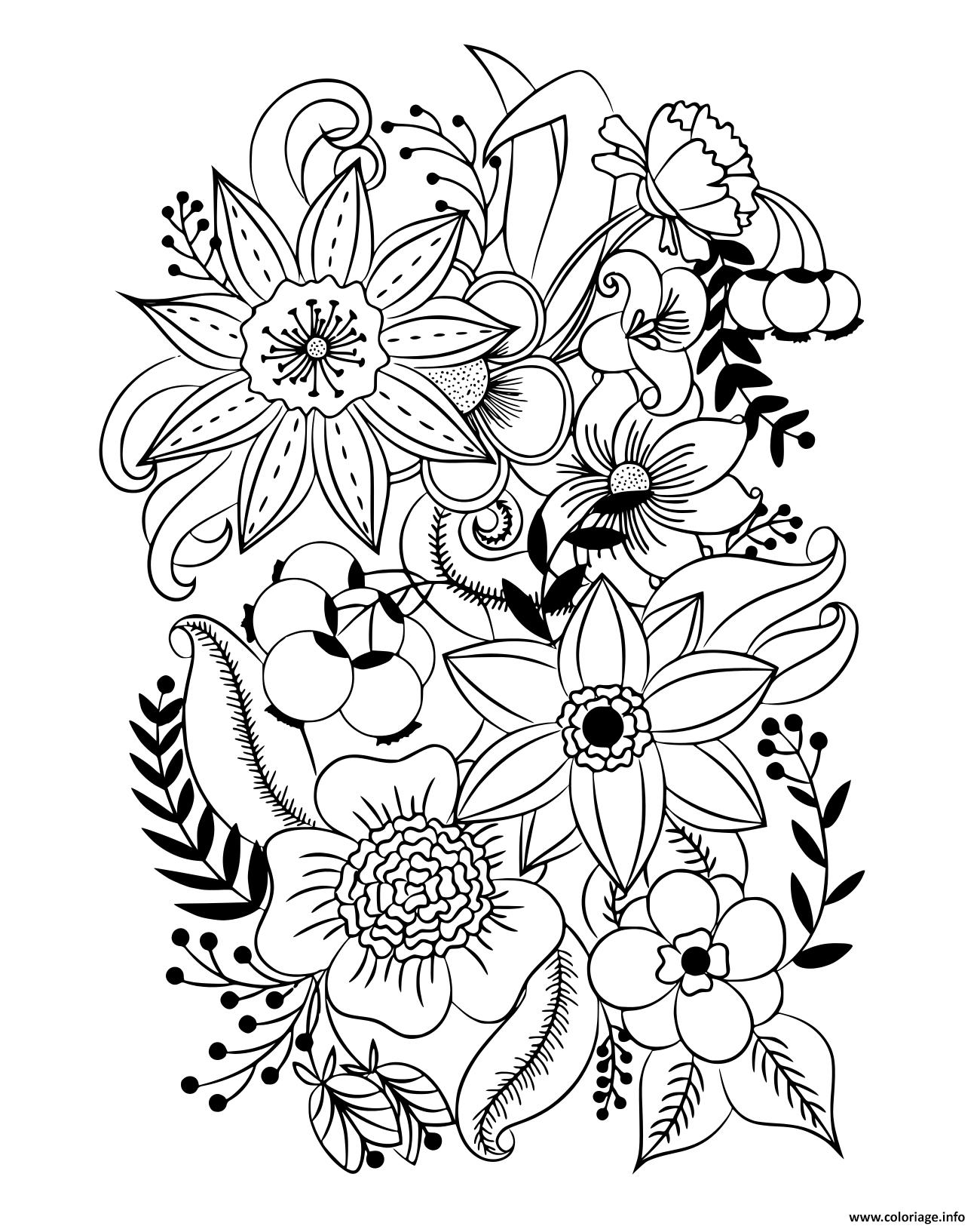 Dessin diverses fleurs et feuilles insipration Coloriage Gratuit à Imprimer
