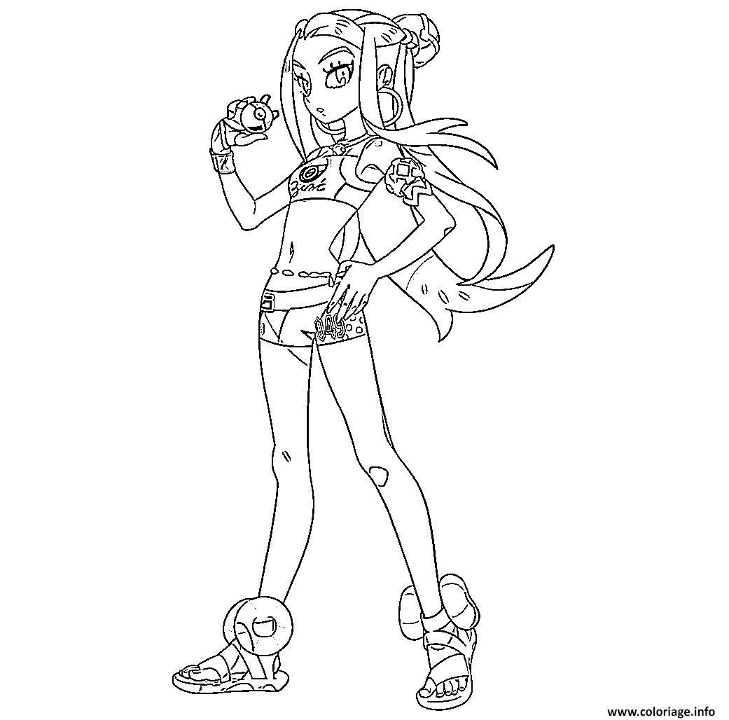Coloriage Donna Championne Arene Et Experte Pokemon Type Eau Dessin