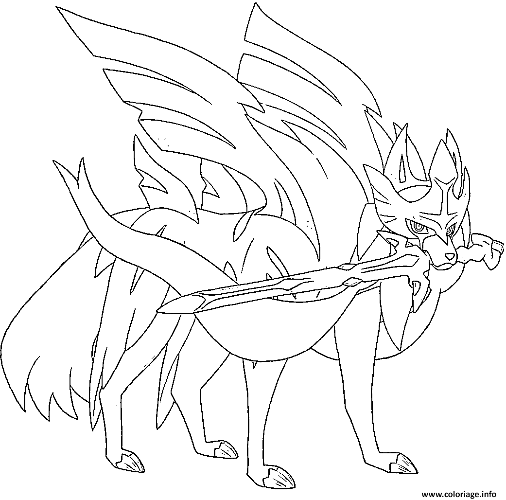 Coloriage Zacian Lame Brillante Pokemon Legendaire Dessin à Imprimer