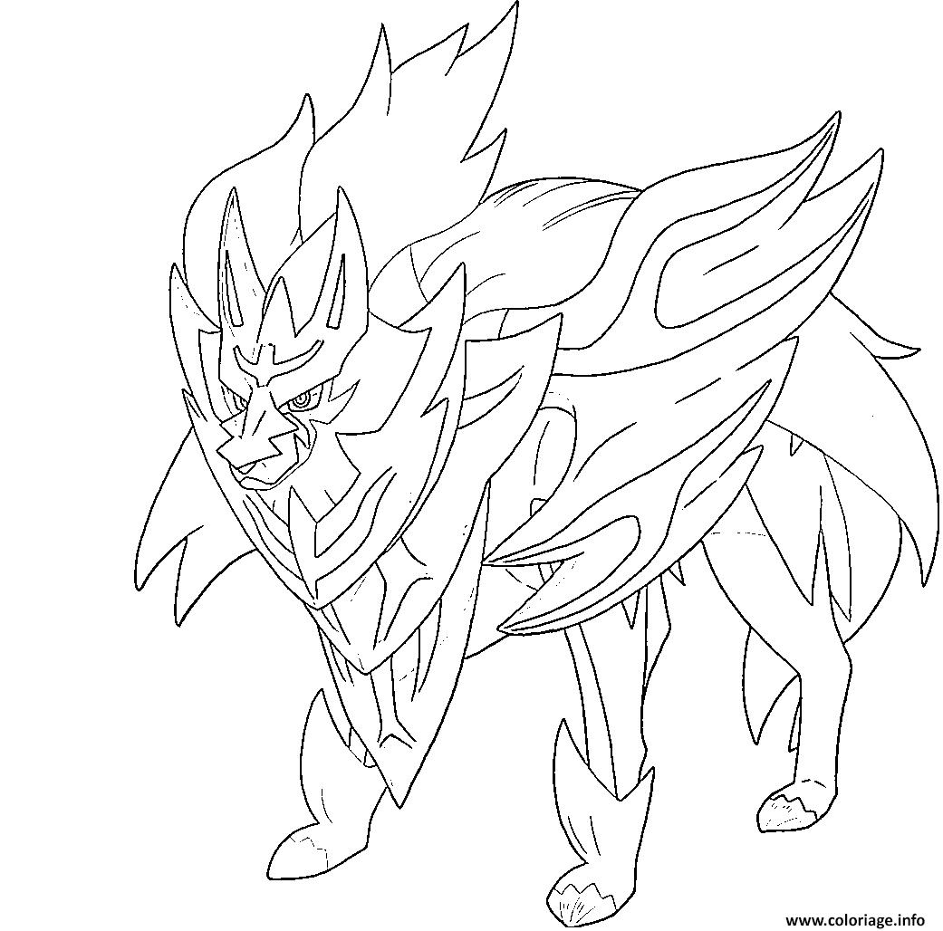 Coloriage Zamazenta Bouclier Lumineux Pokemon Legendaire Dessin