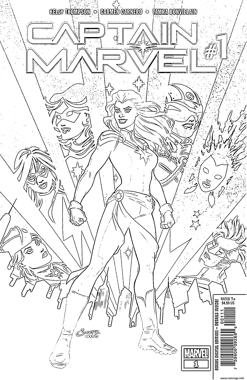 Dessin Captain Marvel Comics BD Coloriage Gratuit à Imprimer