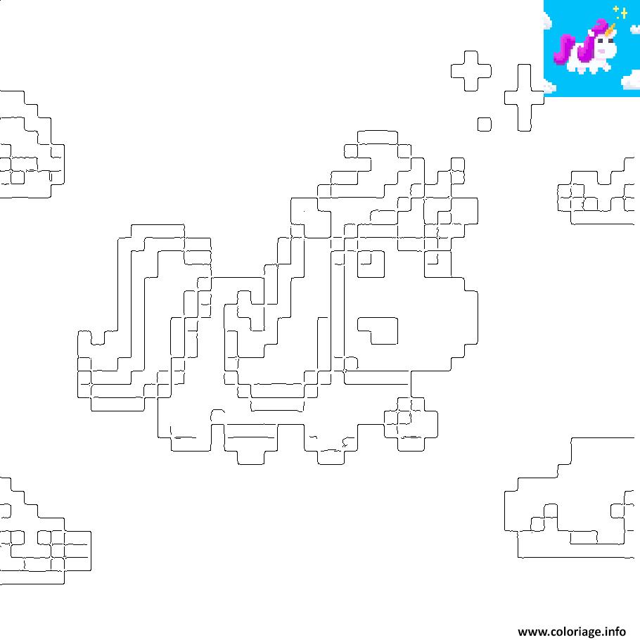 Coloriage Licorne Kawaii En Pixel Art Dessin
