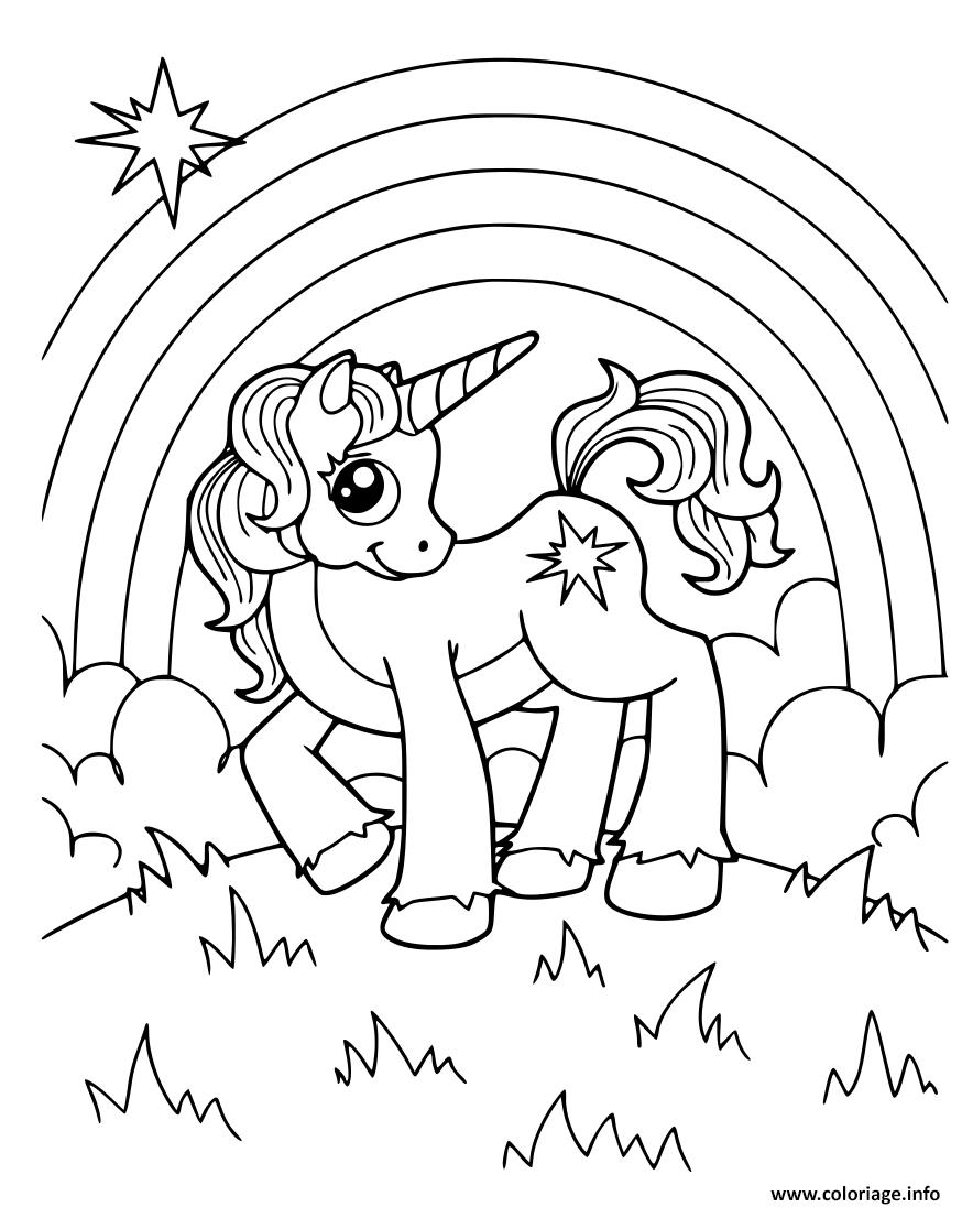 Coloriage Licorne Arc En Ciel Dans Le Jardin Magique Jecolorie Com