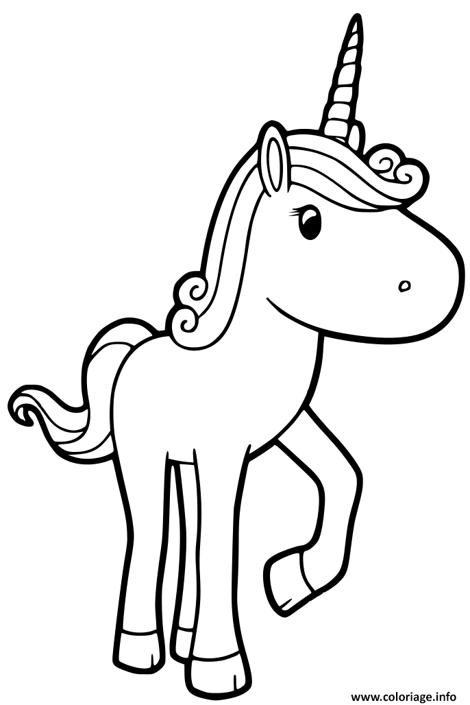 Coloriage Licorne Simple Enfant Facile Jecolorie Com