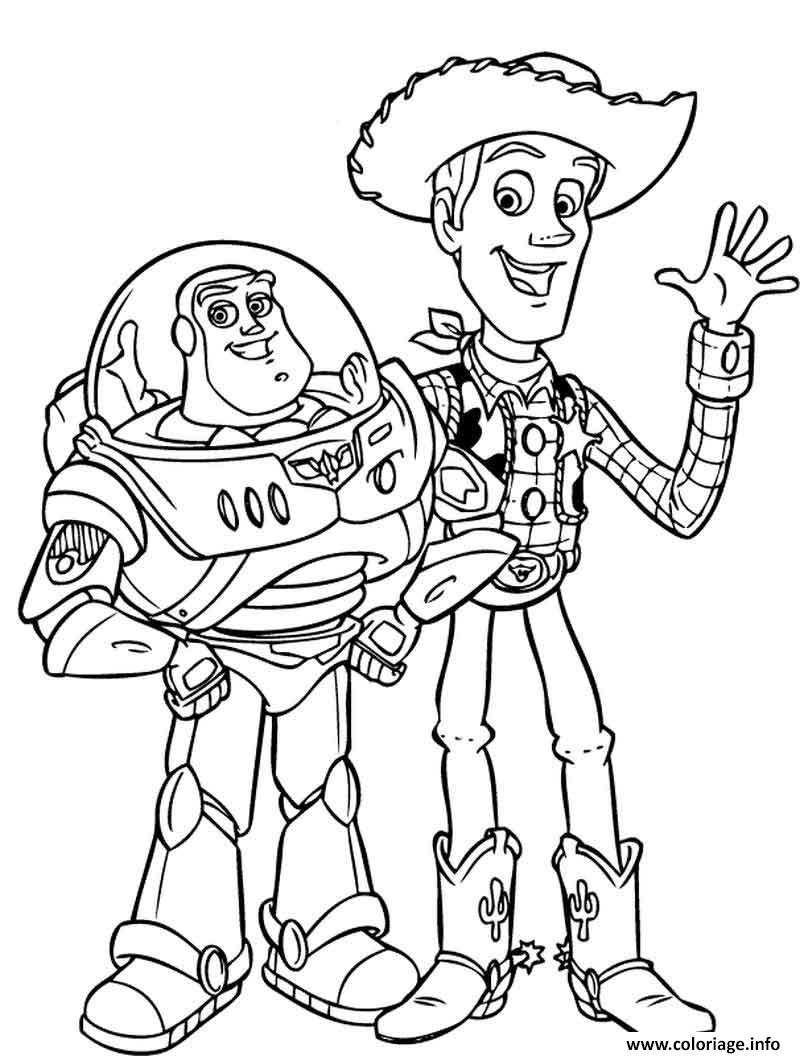 Dessin Buzz Lightyear And Woody Sheriff Hello Coloriage Gratuit à Imprimer