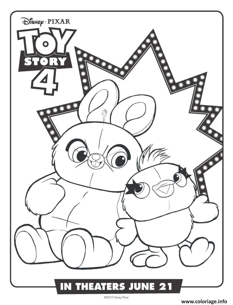 Dessin bunny and ducky toy story 4 Coloriage Gratuit à Imprimer