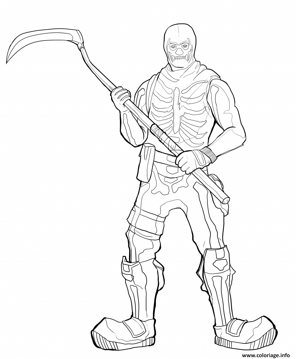 Coloriage Fortnite Skeleton Skin Dessin à Imprimer