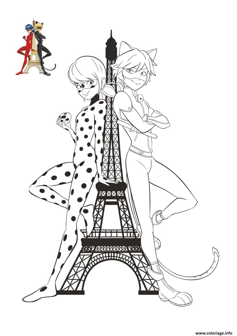Coloriage Chat Noir Et Ladybug Tour Effeil Paris France Dessin