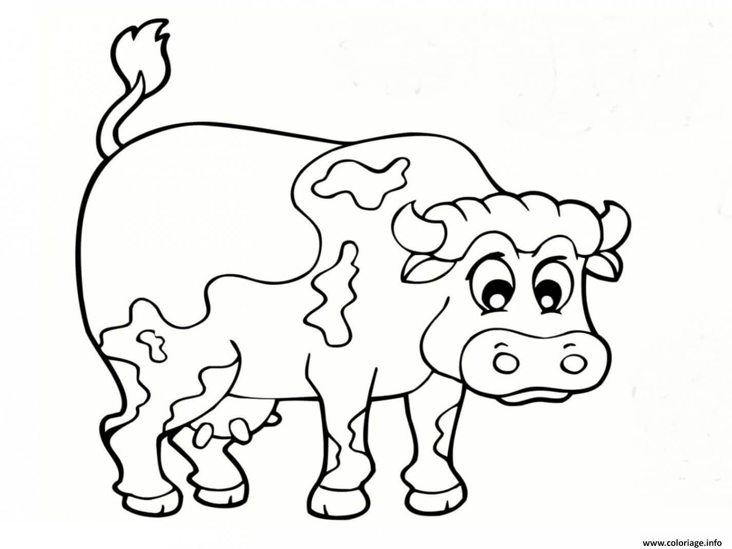 Coloriage Animaux De La Ferme Vache Jecolorie Com
