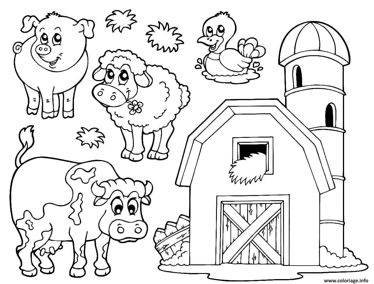 Dessin une ferme avec animaux Coloriage Gratuit à Imprimer