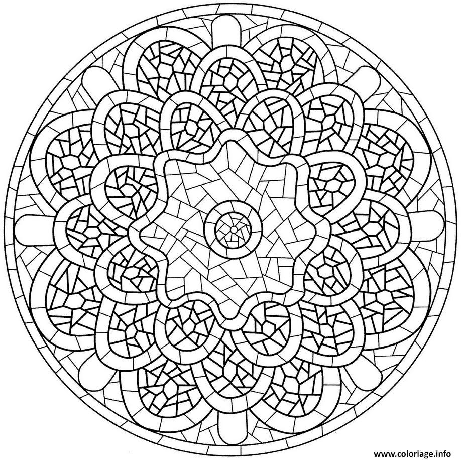Coloriage Mandala Avec Pattern Mosaique Dessin