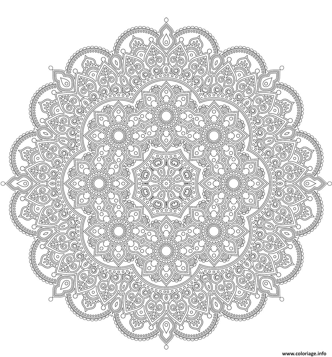 Coloriage Mandala Difficile Style Oriental Dessin Mandala A Imprimer