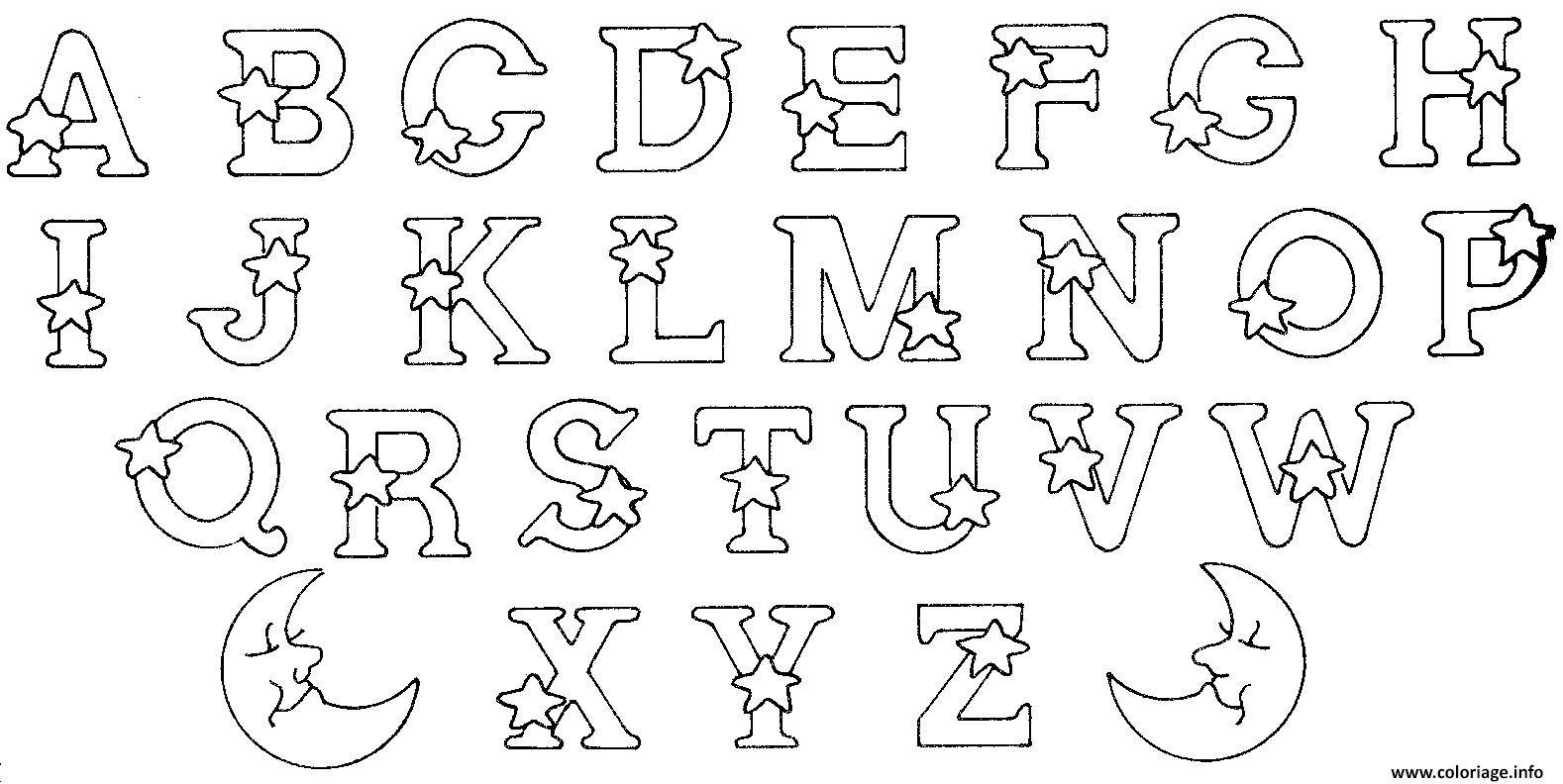 Coloriage Abecedaire Alphabet Et Lettres Etoiles Jecolorie Com