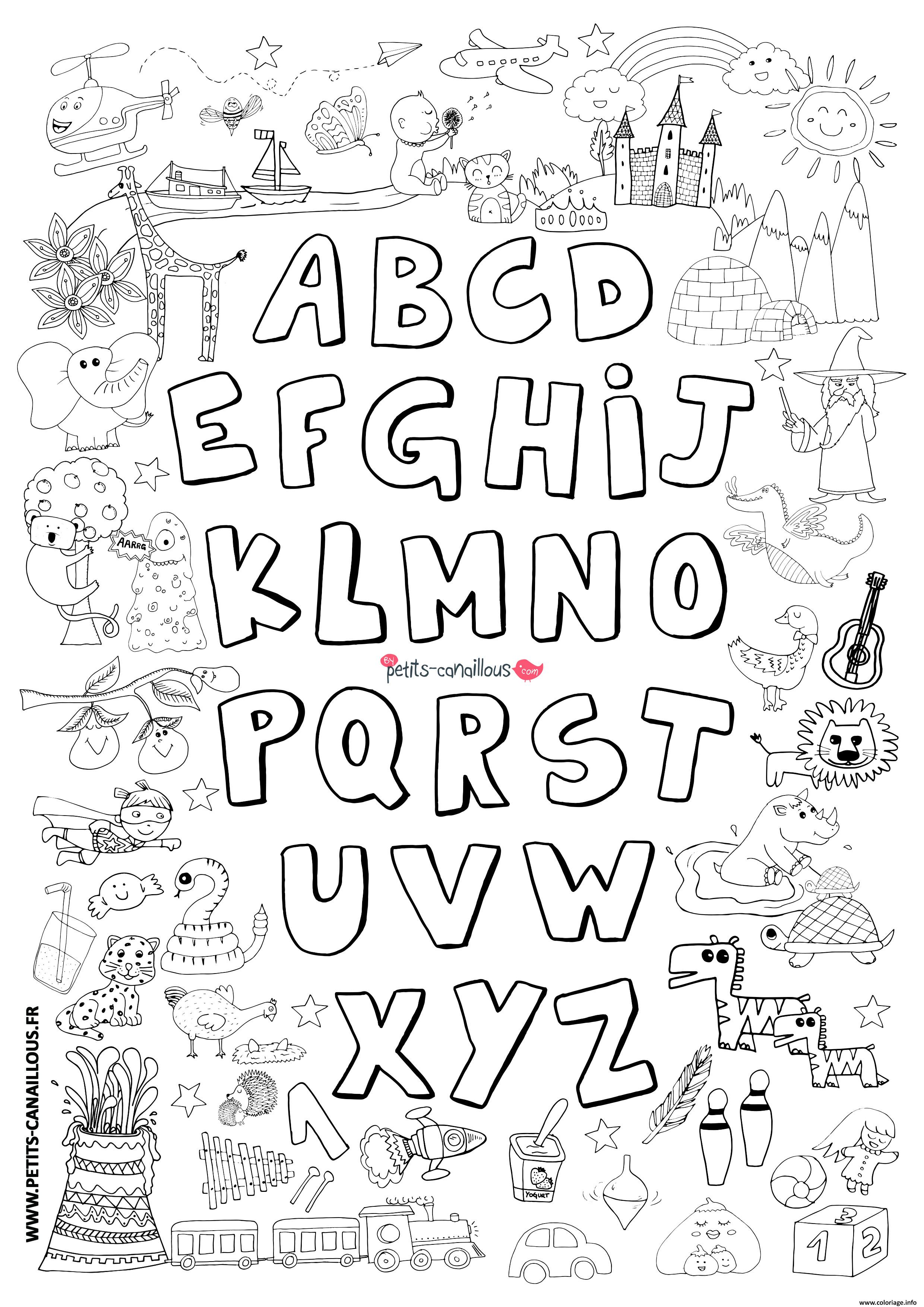 Coloriage Abecedaire Avec Dessins Dessin Alphabet A Imprimer