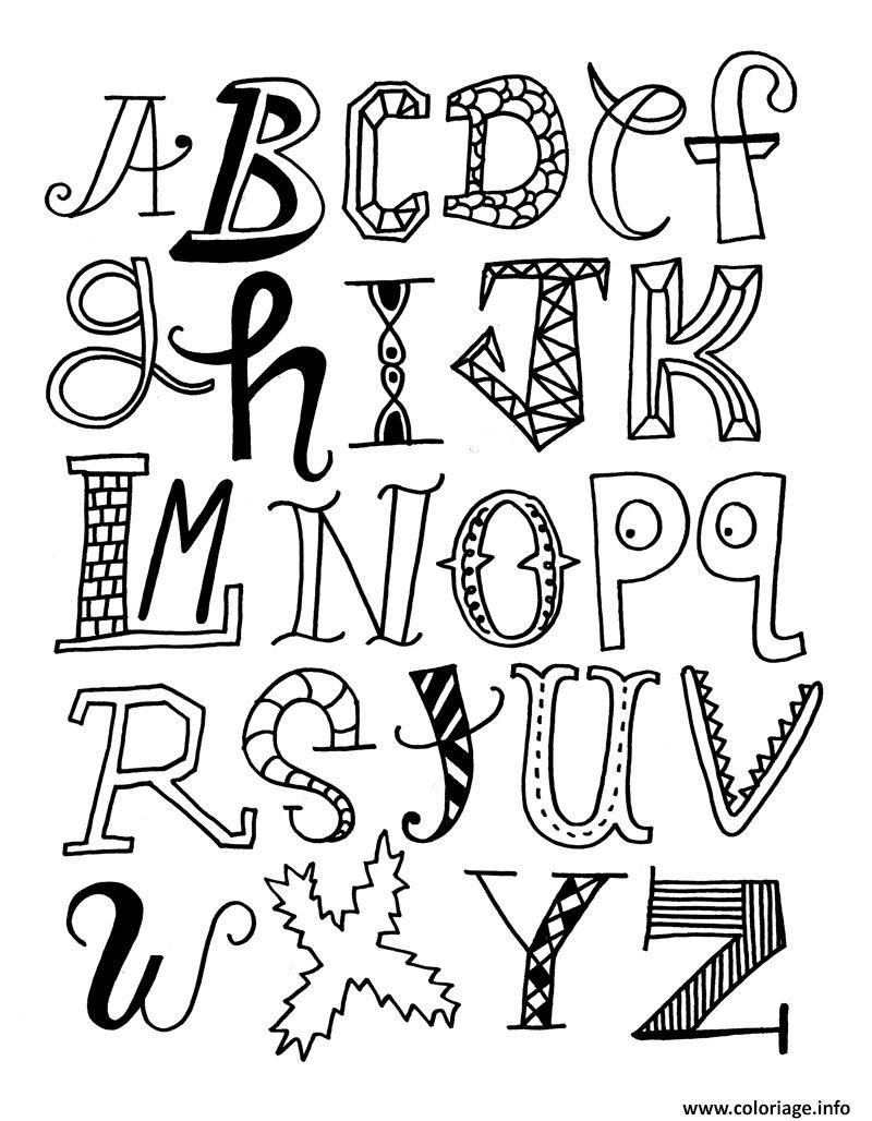 Coloriage Alphabet A Imprimer.Coloriage Alphabet Rigolo Different Jecolorie Com