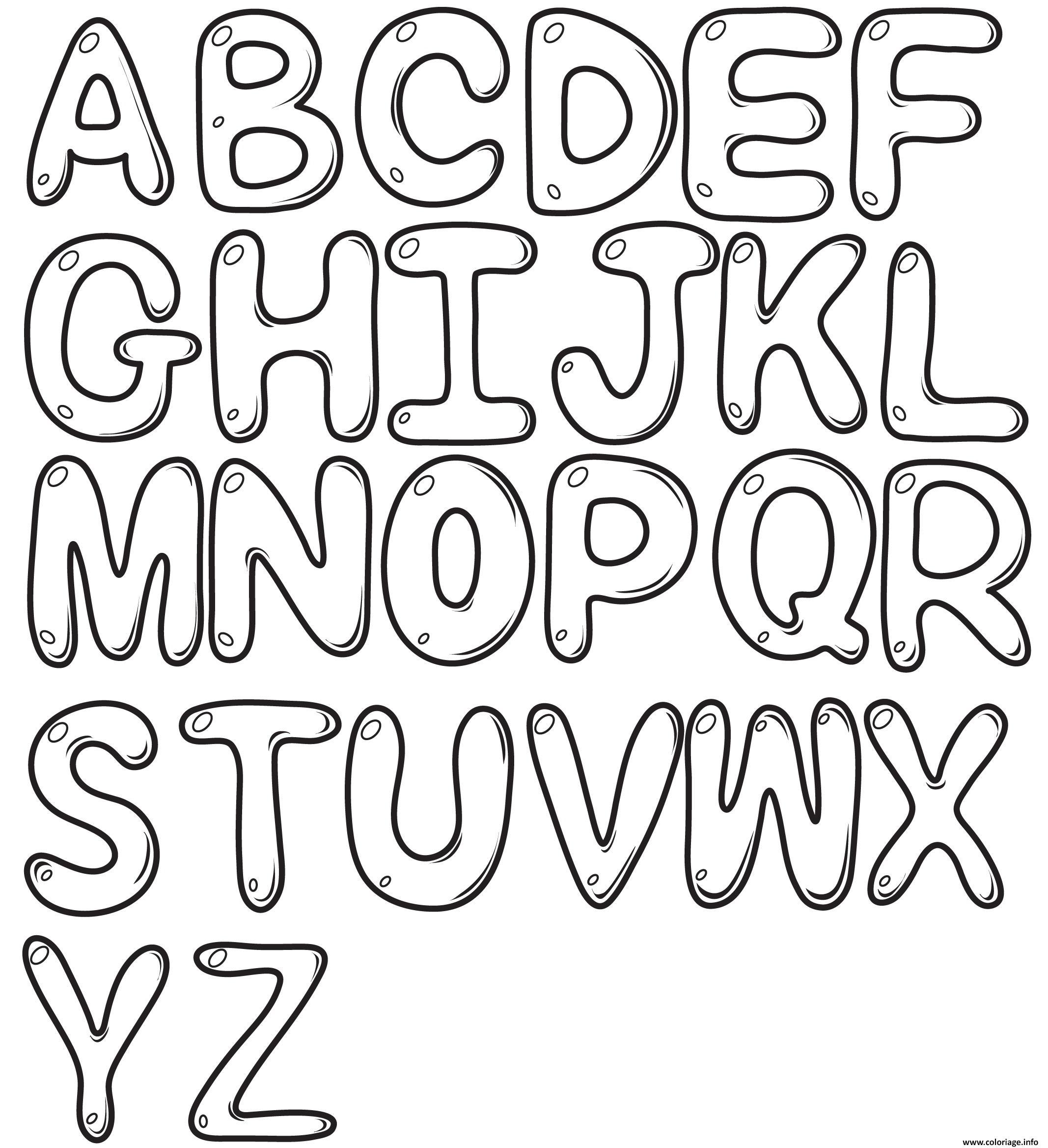 Coloriage bubble letters alphabet az   JeColorie.com