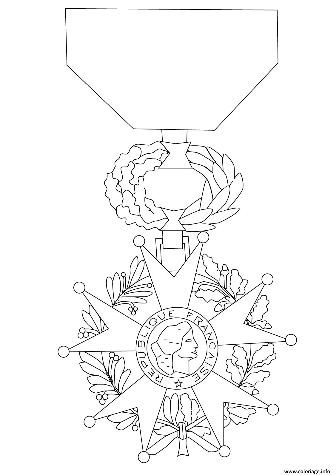 Dessin ordre national de la legion dhonneur Coloriage Gratuit à Imprimer