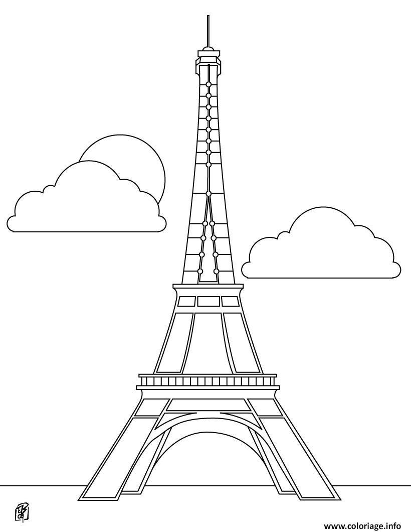 Dessin tour eiffel france monument francais Coloriage Gratuit à Imprimer