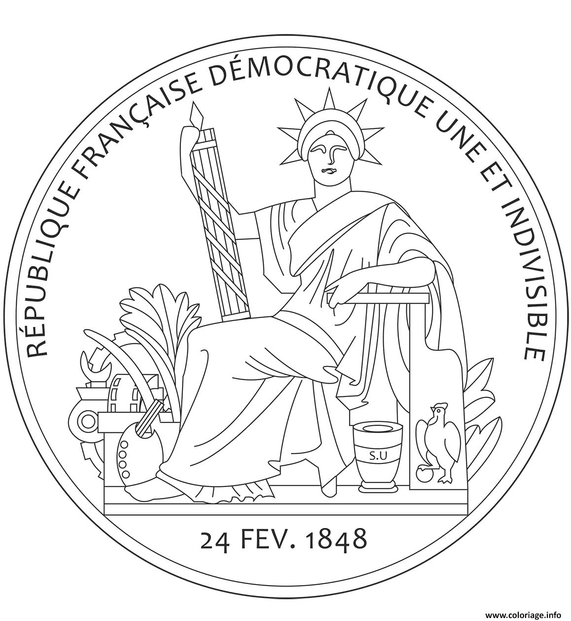 Dessin grand sceau de la republique francaise Coloriage Gratuit à Imprimer