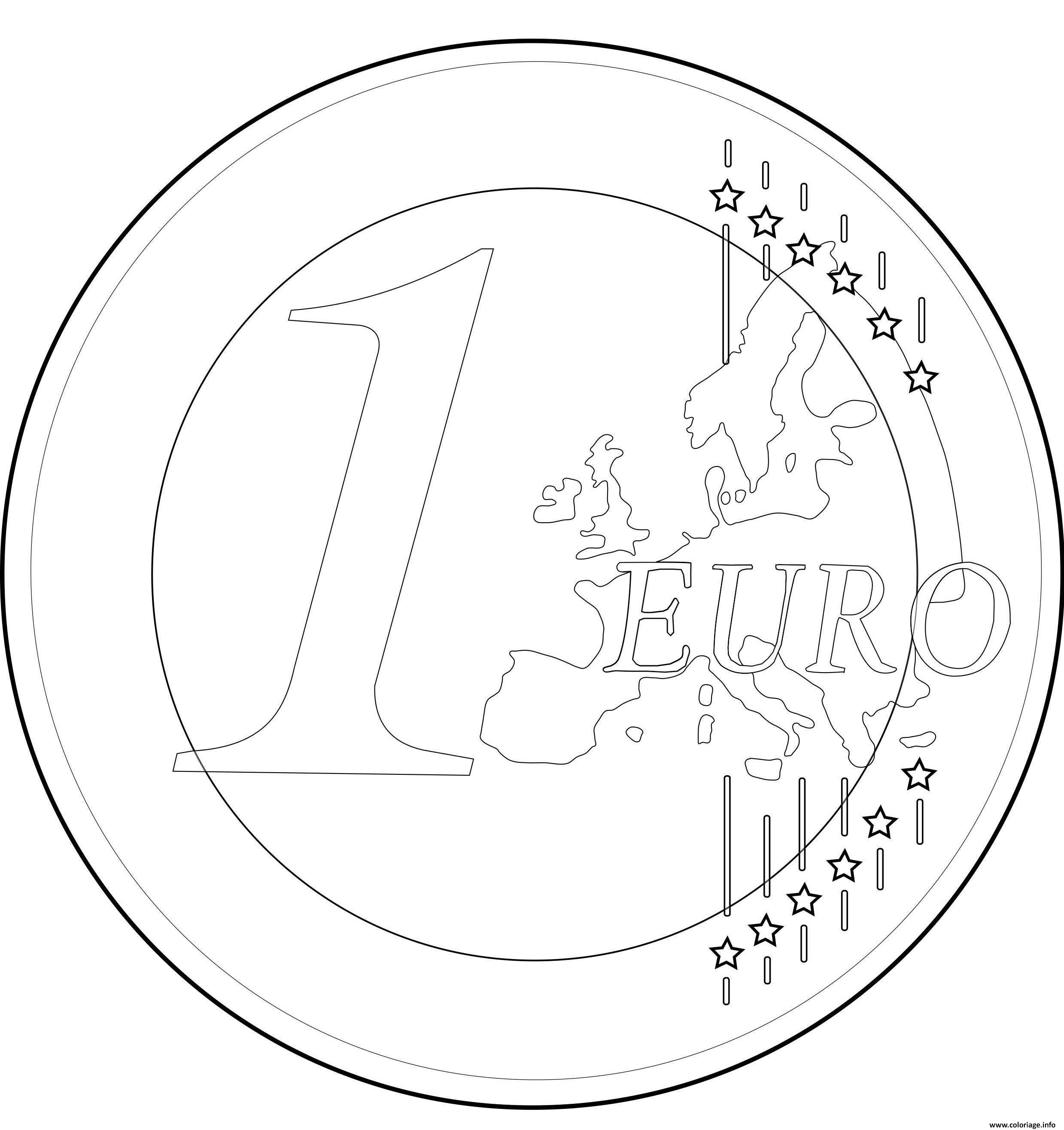 Dessin monnaie france 1 euro Coloriage Gratuit à Imprimer