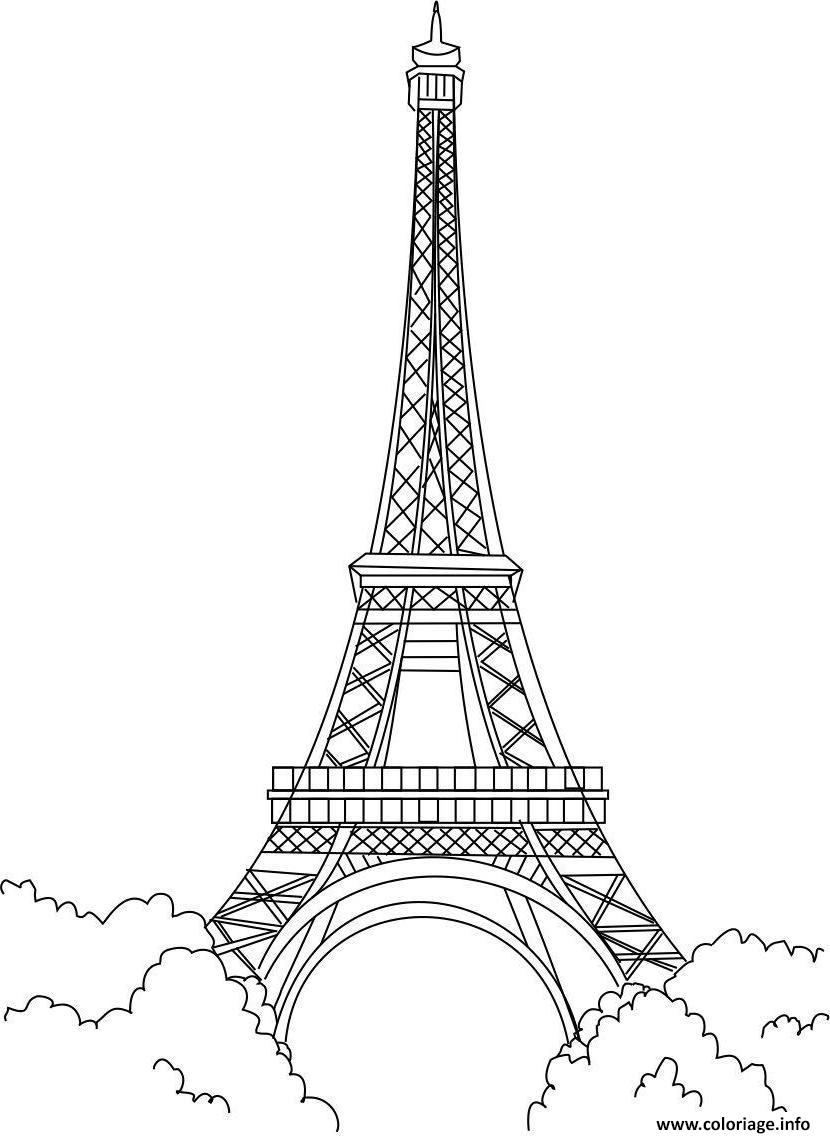 Coloriage Tour Eiffel Monument Paris France Dessin à Imprimer