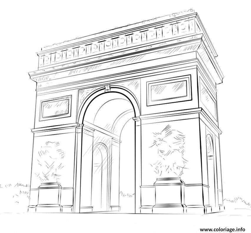 Coloriage Arc De Triomphe France Par Lena London Dessin France A Imprimer
