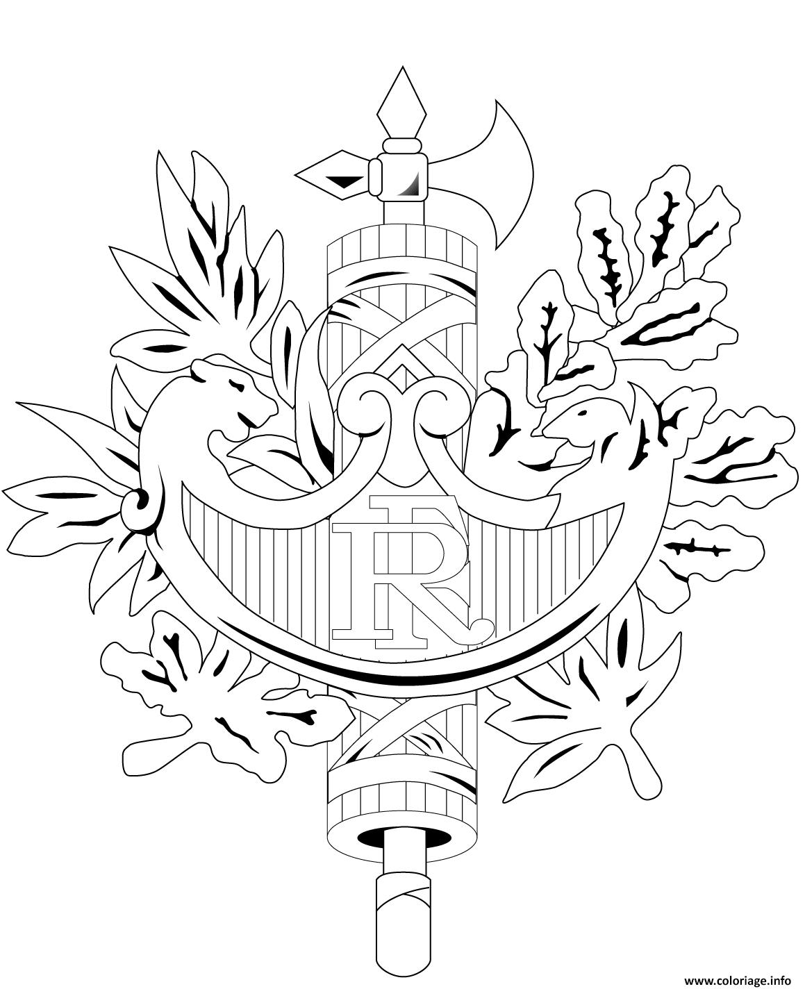 Dessin embleme officieux de la republique francaise Coloriage Gratuit à Imprimer