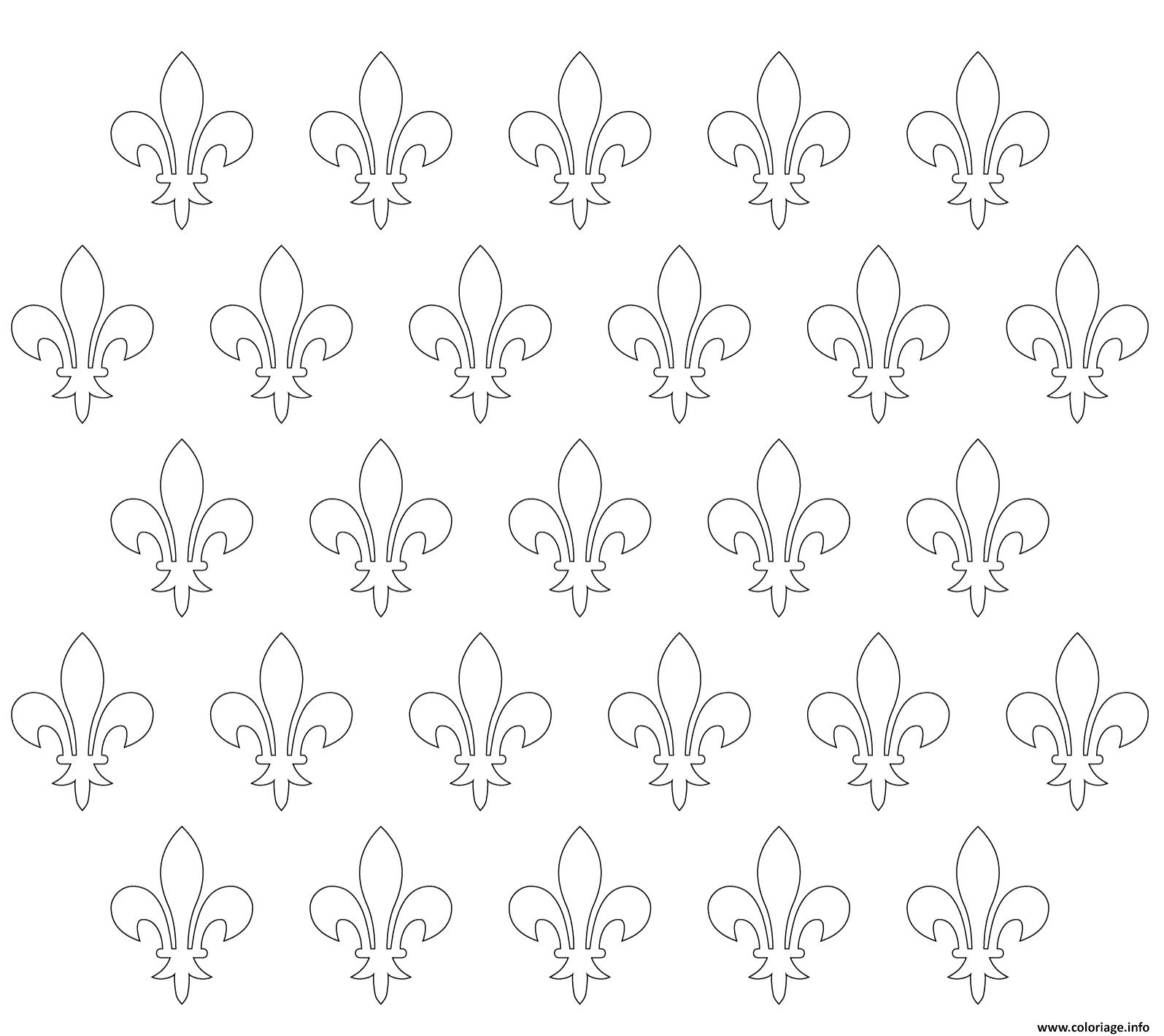 Dessin motif de fleur de lys Coloriage Gratuit à Imprimer