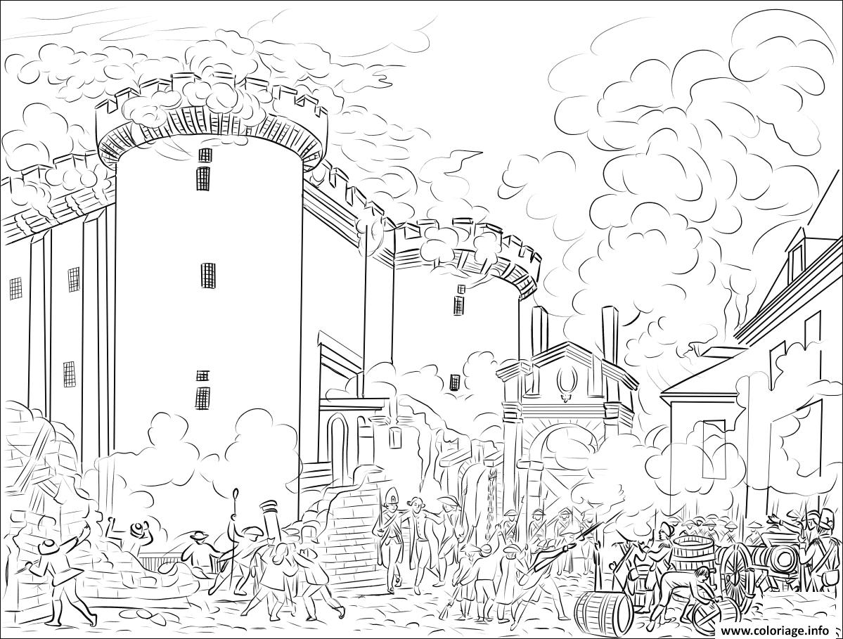Dessin Prise de la Bastille Coloriage Gratuit à Imprimer