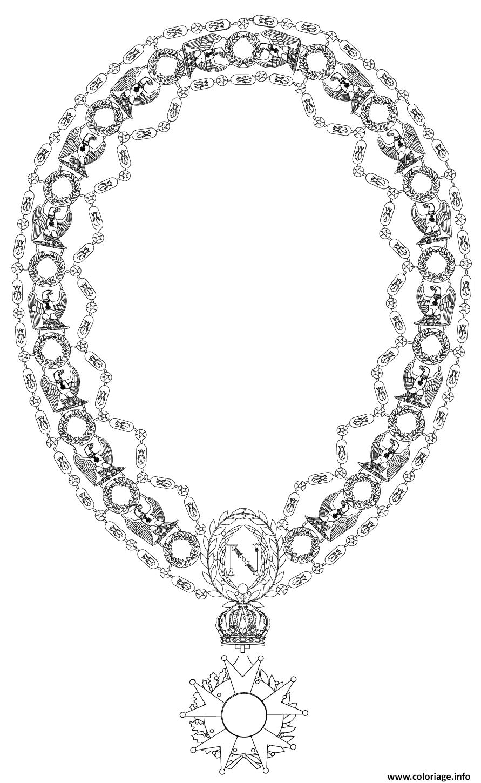 Dessin grand collier de la legion dhonneur Coloriage Gratuit à Imprimer