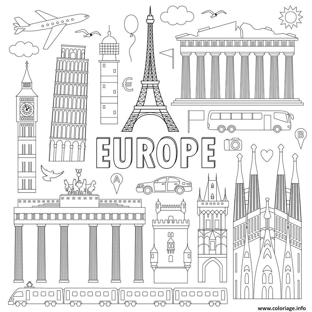 Dessin monuments celebres Europe Coloriage Gratuit à Imprimer