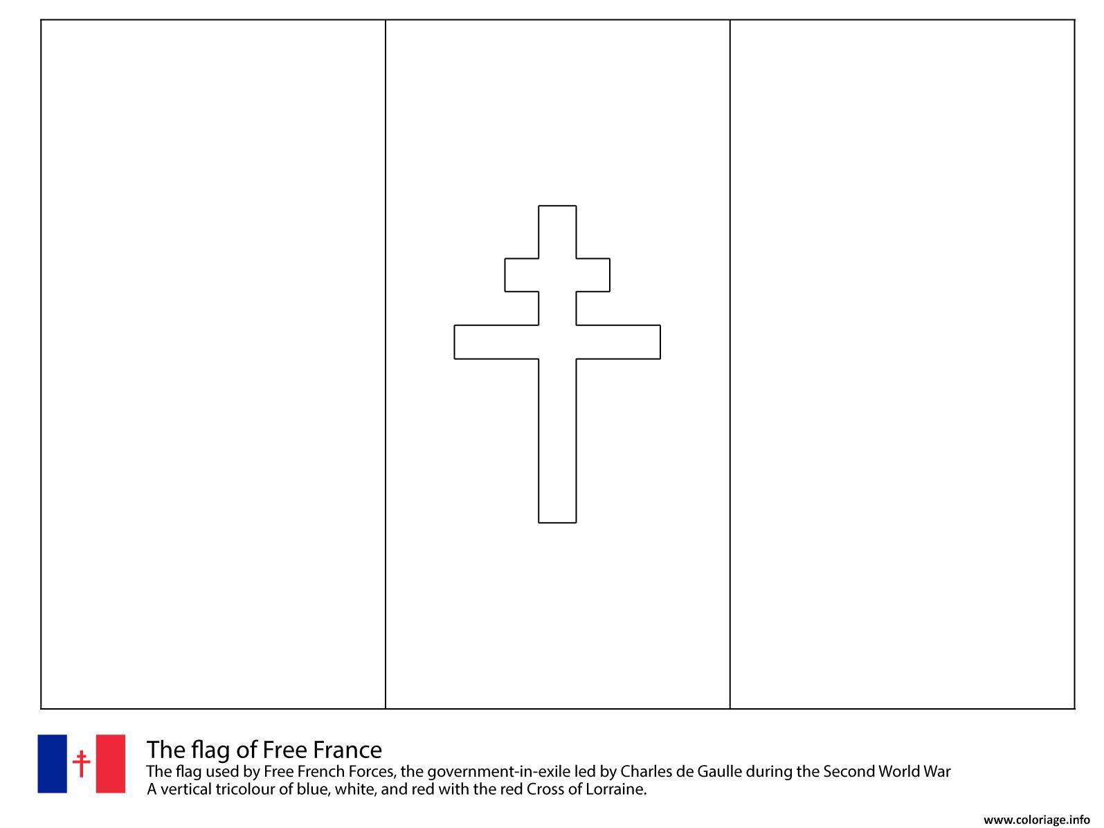 Dessin drapeau de la france libre 1940 1944 Coloriage Gratuit à Imprimer