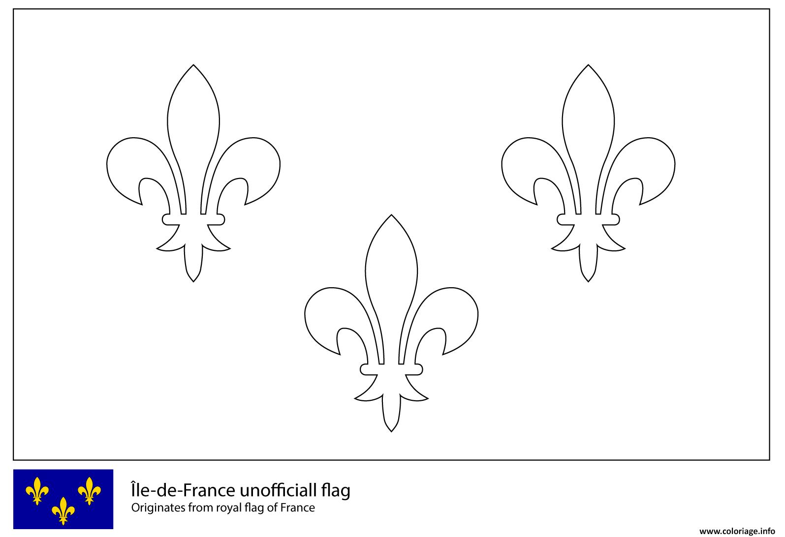 Dessin drapeau de lile de france Coloriage Gratuit à Imprimer