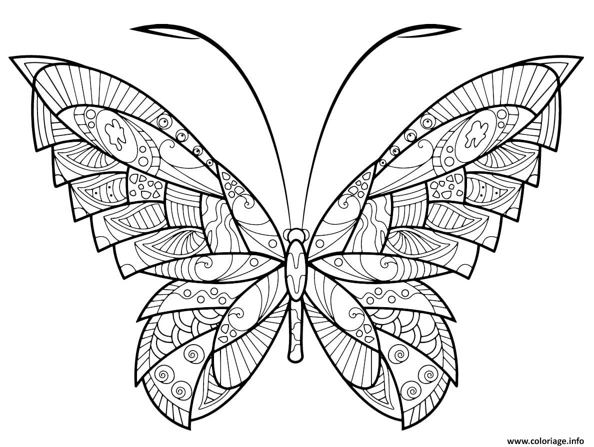 Dessin papillon zentangle jolis motifs 17 Coloriage Gratuit à Imprimer