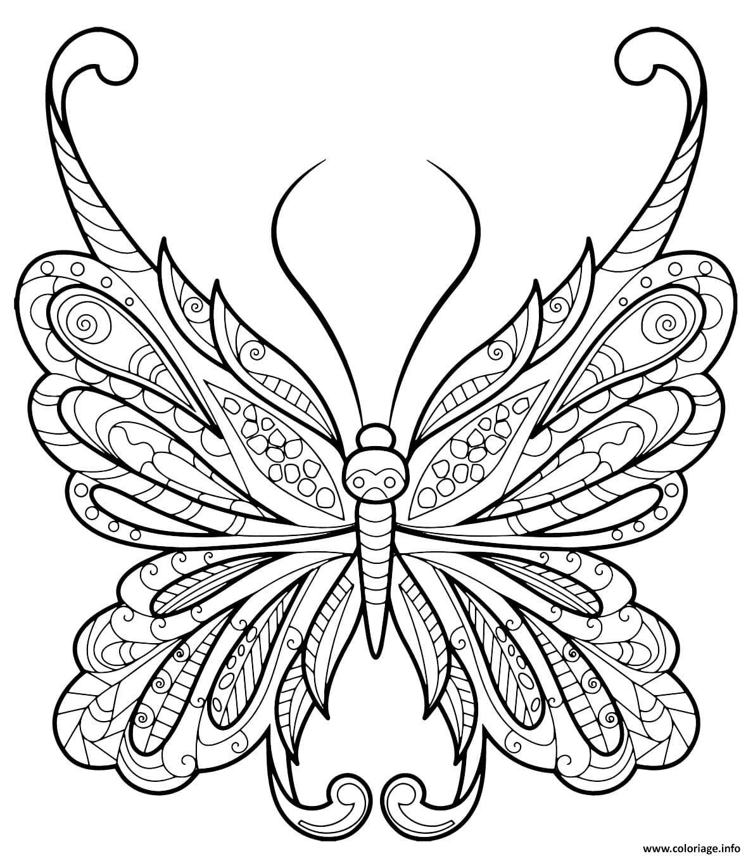 Dessin papillon zentangle jolis motifs 18 Coloriage Gratuit à Imprimer