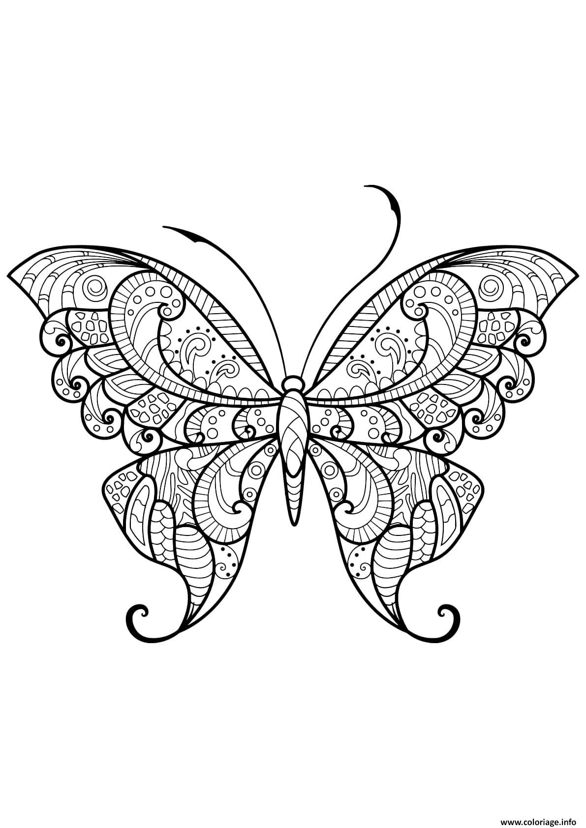 Dessin papillon adulte jolis motifs 12 Coloriage Gratuit à Imprimer