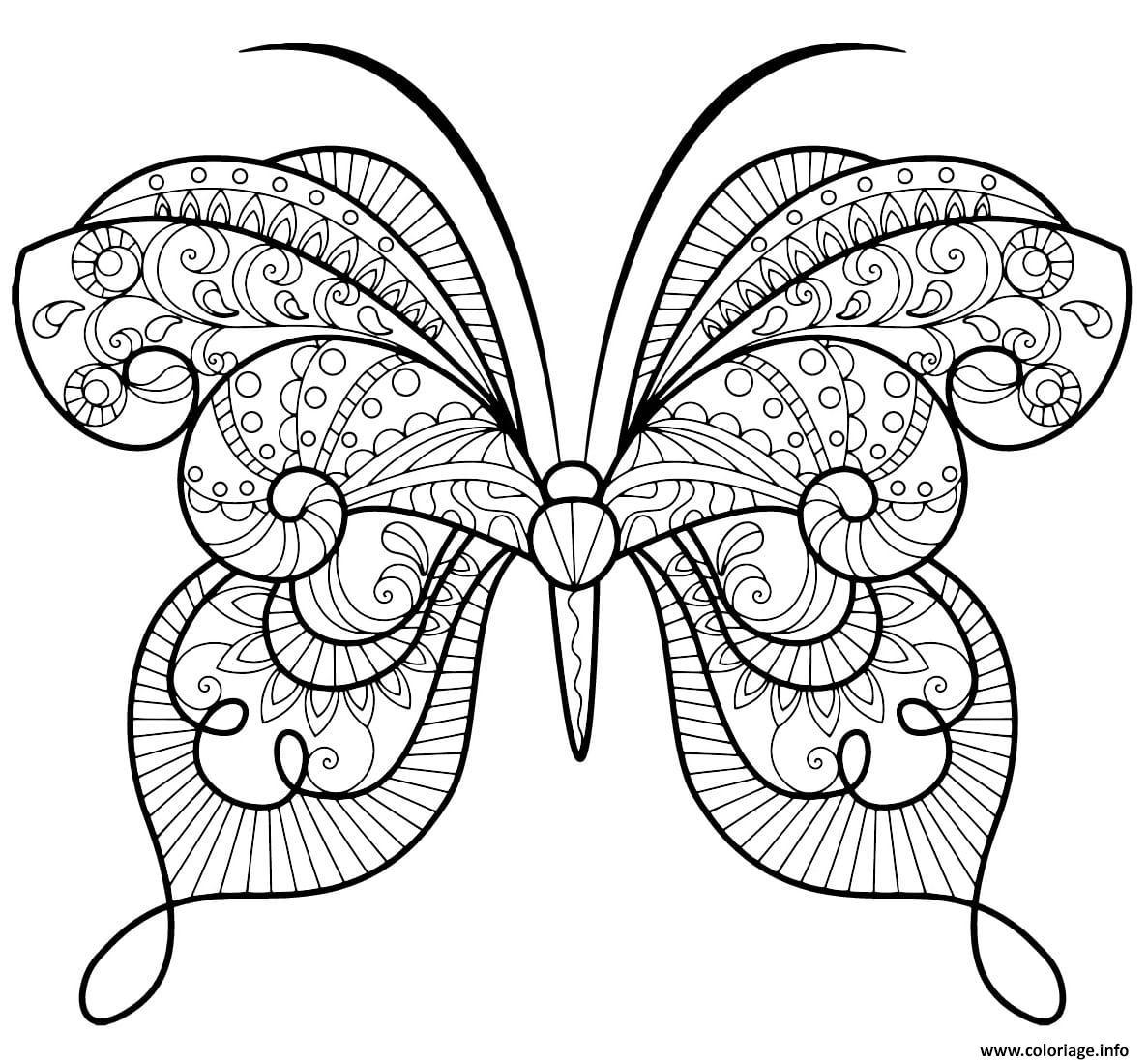 Dessin papillon zentangle jolis motifs 15 Coloriage Gratuit à Imprimer