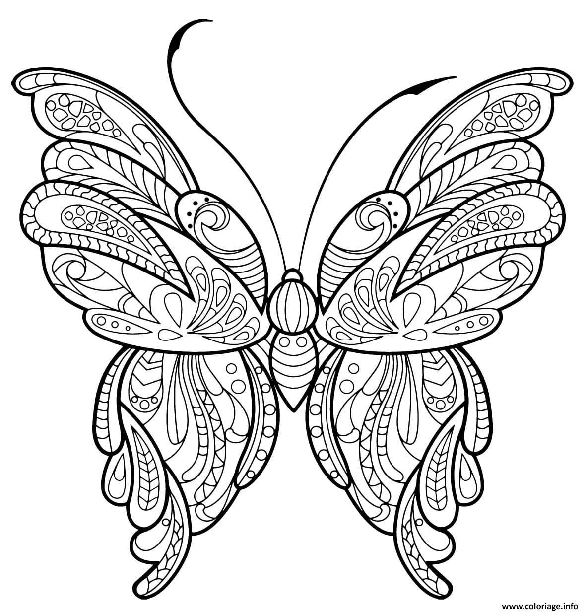 Coloriage Papillon Zentangle Jolis Motifs 16 Jecolorie Com