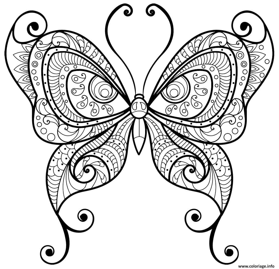 Dessin papillon adulte jolis motifs 10 Coloriage Gratuit à Imprimer