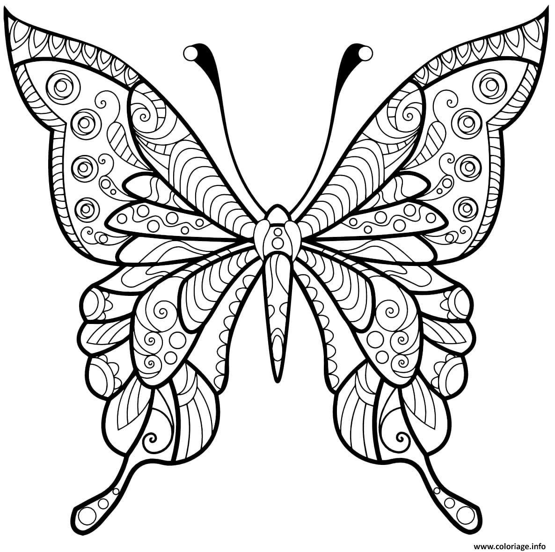 Dessin papillon jolis motifs 4 Coloriage Gratuit à Imprimer