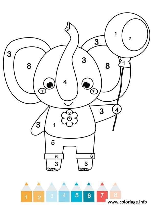 Coloriage Ete Cp.Coloriage Magique Cp Un Elephant Jecolorie Com