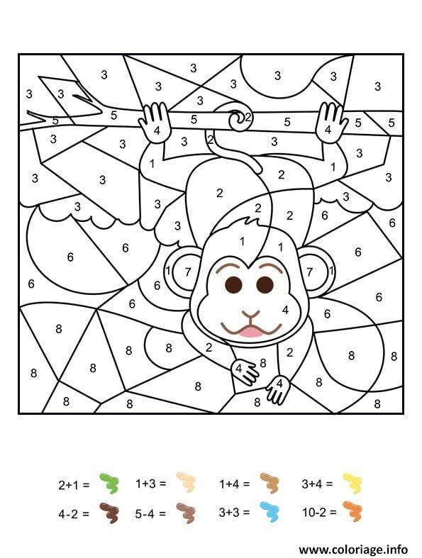 Coloriage magique cp un singe facetieux - JeColorie.com