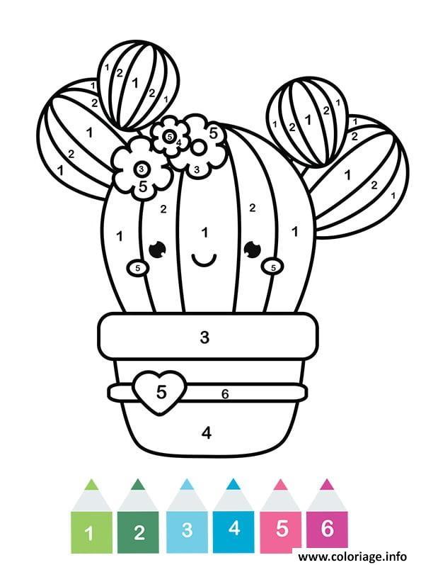Coloriage Magique Cp Un Cactus Kawaii Jecolorie Com